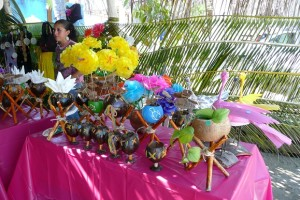 Coconut Napkin Holders and Paper Flowers with Alma