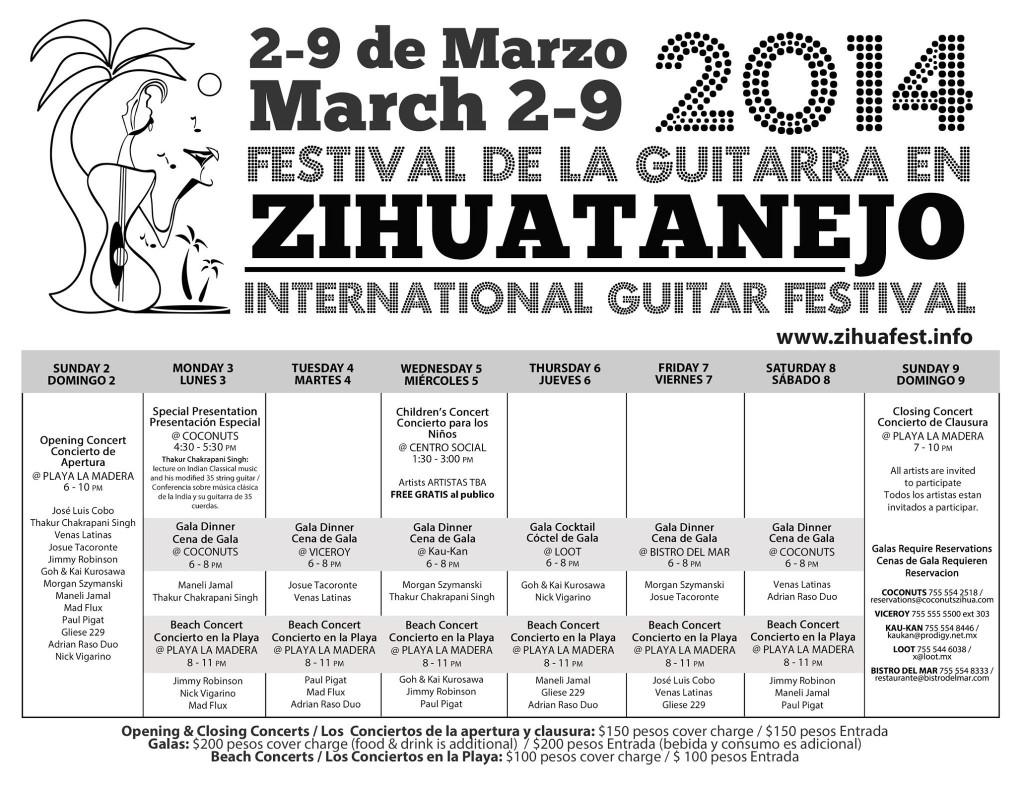 Guitar Festival Calendar of Events