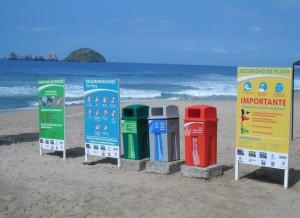 Beach trash cans