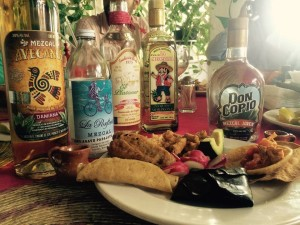 Mezcal and dishes