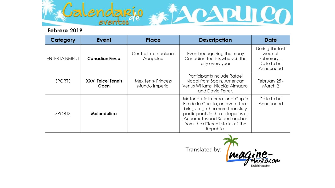 Calendario 2019 English.Acapulco Calendar Of Events February 2019 Imagine Mexico Com
